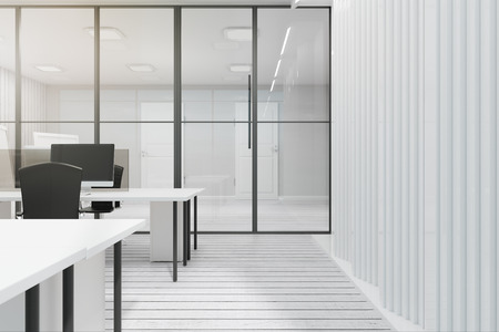 Bright white coworking office interior with glass partition and furniture. 3D Rendering