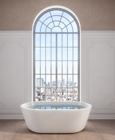 Front view of bath tab in modern bathroom interior with city view and daylight. 3D Rendering Archivio Fotografico - 116672579