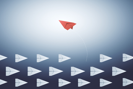 Creative paper planes on blue background. Leadership and direction concept. 3D Rendering