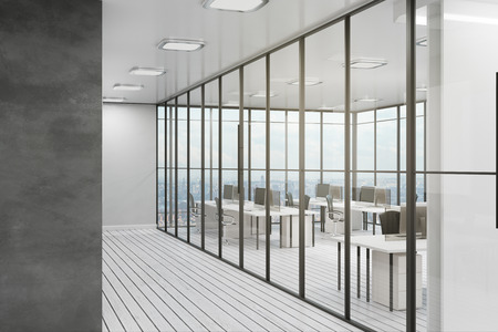 Clean coworking office interior with city view, furniture and daylight. 3D Rendering Stock Photo