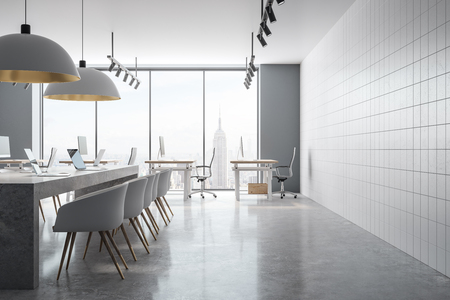 Coworking office interior with panoramic New York city view and daylight. 3D Rendering