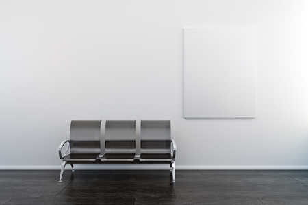 Empty poster and bench in concrete interior. Gallery and ad concept. Mock up, 3D Rendering Stock Photo - 116673279
