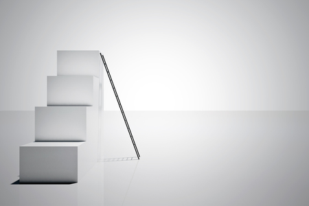 Abstract concrete stairs with ladder on white background. Success and promotion concept. 3D Rendering 写真素材