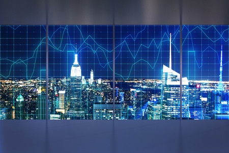 Abstract interior with night New York city view and forex chart. Office and investment concept. 3D Rendering Stock Photo