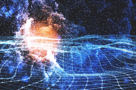 Glowing digital grid on abstract starry sky space background. Future and innovation concept. Double exposure 写真素材