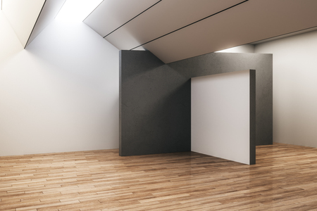 Modern concrete exhibition hall interior with empty banner and wooden floor. Gallery and museum concept. Mock up, 3D Rendering