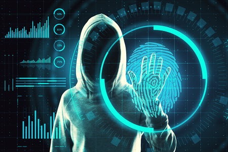 Hacker hand scanning fingerprint for ID access. Data theft and criminal concept. Double exposure