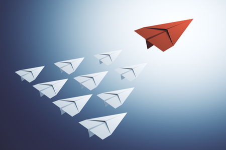 Creative paper planes on blue background. Leadership and way concept. 3D Rendering
