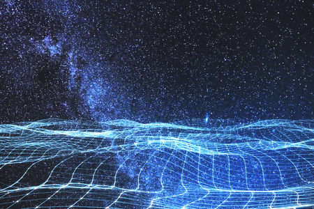 Glowing digital grid on abstract starry sky space wallpaper. Future and innovation concept. Double exposure 写真素材