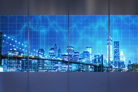 Abstract interior with night New York city view and forex chart. Office and trade concept. 3D Rendering