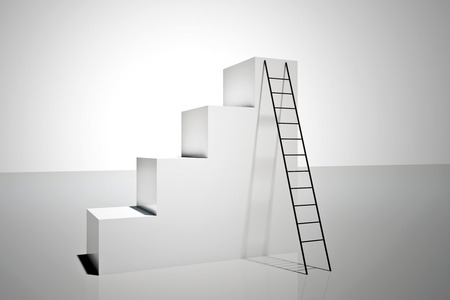 Abstract concrete stairs with ladder on white background. Success and career concept. 3D Rendering