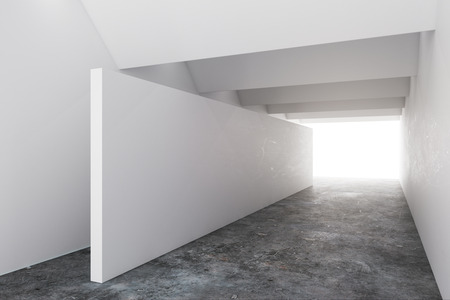 Simple concrete interior with copy space on wall and creative lighting. Design concept. Mock up, 3D Rendering
