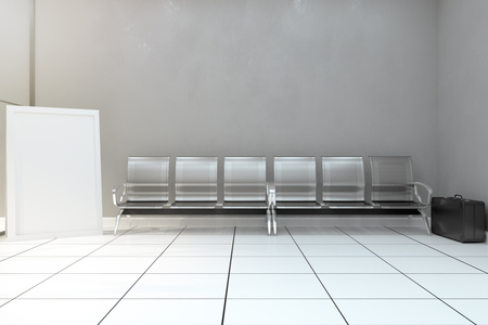 Metal bench and poster in concrete room with unattended suitcase. Attack and ad concept. Mock up, 3D Rendering 写真素材 - 116674561