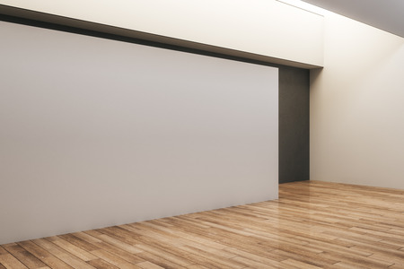 Modern concrete exhibition hall interior with empty billboard and wooden floor. Gallery and museum concept. Mock up, 3D Rendering