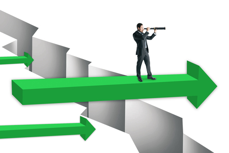 Businessman with telescope standing on green arrow over gap. Challenge and research concept.