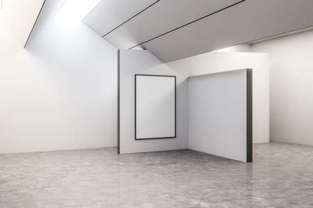 Clean concrete exhibition hall interior with copyspace and gray floor. Gallery concept. Mock up, 3D Rendering Imagens