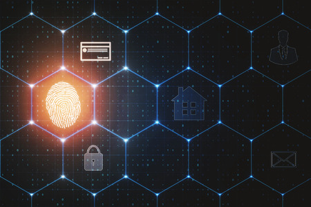 Abstract glowing finger print interface with hexagonal grid. Access and ID concept. 3D Rendering