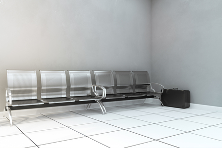 Metal bench and copyspace in concrete room with unattended suitcase. Attack and ad concept. Mock up, 3D Rendering