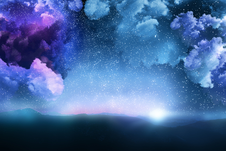 Beautiful cloudy starry sky space background. Creative wallpaper