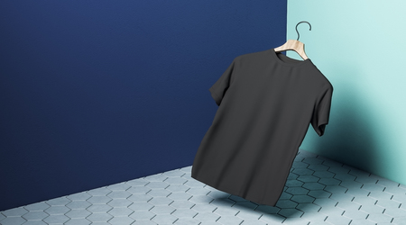 Abstract levitating black tshirt on hanger in concrete blue with shadow. Store, fabric, fashion and mockup concept. 3D Rendering