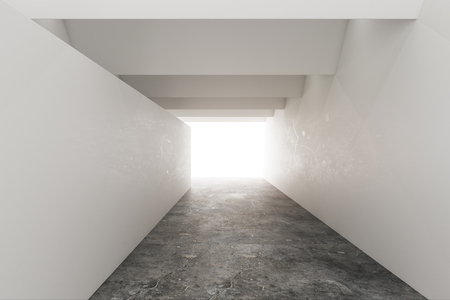 Bright concrete interior with copy space on wall and creative lighting. Design concept. Mock up, 3D Rendering