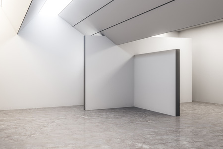 Bright concrete exhibition hall interior with copyspace and gray floor. Gallery concept. Mock up, 3D Rendering 写真素材