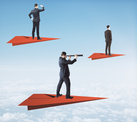 Businessmen on red paper planes looking into the distance with telescopes on sky background. Vision and research concept