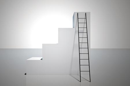 Abstract concrete stairs with ladder on white background. Success and growth concept. 3D Rendering 写真素材