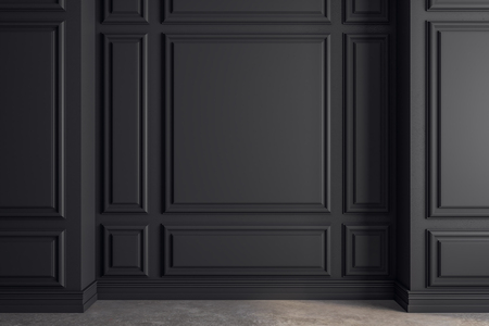 Clean classical interior with black copyspace on wall. Mock up, 3D Rendering Imagens - 116987706