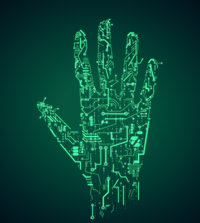Creative green circuit hand on dark background. Robotics and ai concept. 3D Rendering