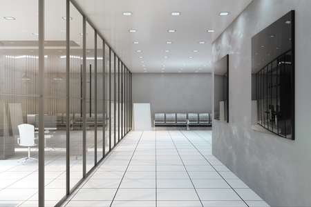 Bright office corridor interior with glass wall, furniture and equipment. 3D Rendering