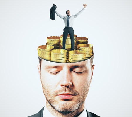 Abstract businessman face portrait with shut eyes and golden coins brain on white background. Focus and investment concept