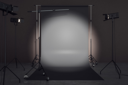 Contemporary photo studio with professional lighting equipment and black background. Photgraphy concept. Mock up, 3D Rendering Stock Photo