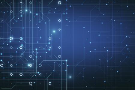 Glühender blauer Schaltungshintergrund mit leuchtenden Kreisen und Linien. Chip- und Engineering-Konzept. 3D-Rendering