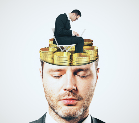 Abstract businessman face portrait with shut eyes and golden coins brain on white background. Focus and money concept