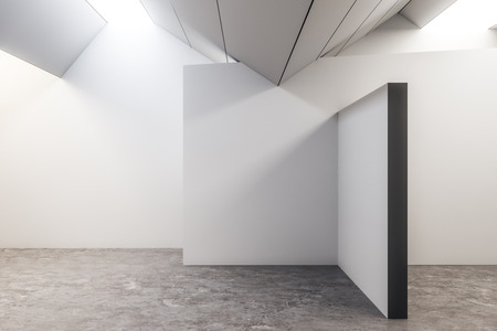 Minimalistic concrete exhibition hall interior with copyspace and gray floor. Gallery concept. Mock up, 3D Rendering