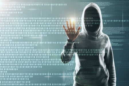 Hacker in hoodie using abstract binary code interface. Software and malware concept. Double exposure Stock fotó