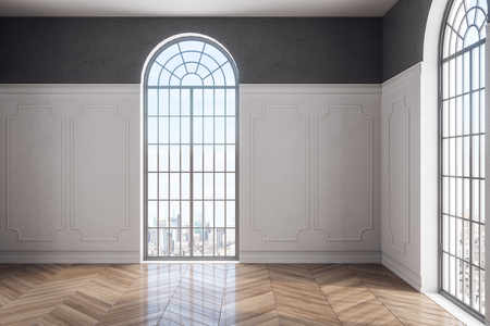 Bright empty classical interior with wooden floor, concrete wall and window with city view. 3D Rendering Stok Fotoğraf