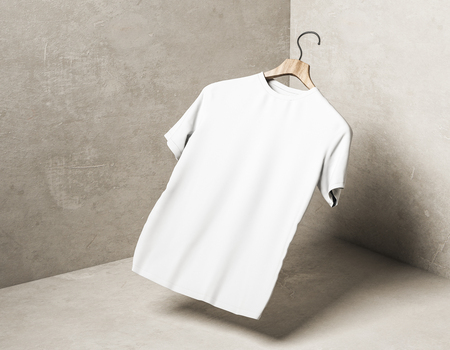 Abstract levitating white tshirt on hanger in concrete corner with shadow. Store, fabric, fashion and mockup concept. 3D Rendering