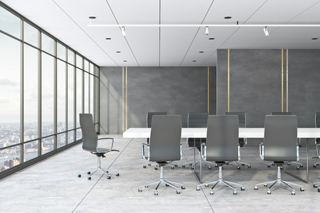 Concrete meeting room interior with panoramic city view and furniture. 3D Rendering