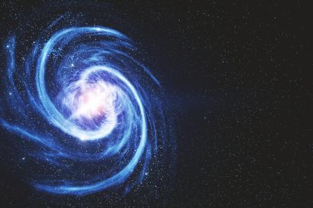 Estrella redonda brillante creativa sobre fondo espacial con copyspace. Representación 3D