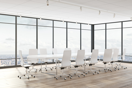 Modern conference room interior with panoramic city view and furniture. 3D Rendering