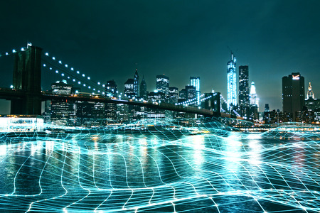 Abstract night city backdrop with glowing grid on water. Future and innovation concept. Double exposure Banque d'images