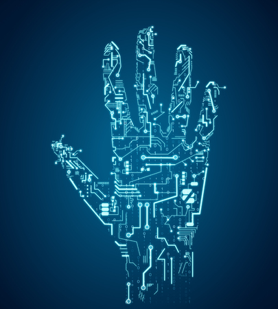 Creative blue circuit hand on dark background. Robotics and ai concept. 3D Rendering