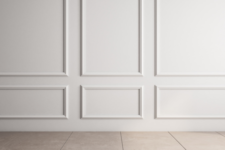 Blank classical interior with white copyspace on wall. Mock up, 3D Rendering