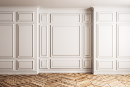 Clean classical interior with white copyspace on wall. Mock up, 3D Rendering