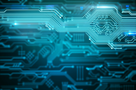 Abstract blurry circuit wallpaper with lines. Computing and engineering concept. 3D Rendering Standard-Bild - 117069468