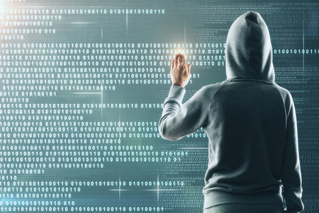 Hacker in hoodie using abstract binary code interface. Software and phishing concept. Double exposure 스톡 콘텐츠