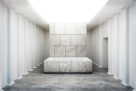 Abstract exhibition interior with empty concrete pedestal. Gallery concept. Mock up, 3D Rendering