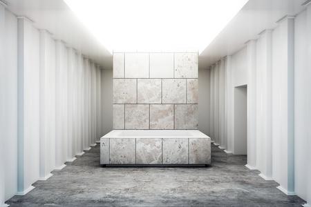 Abstrakter Ausstellungsinnenraum mit leerem Betonsockel. Galerie-Konzept. Mock-up, 3D-Rendering